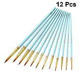 Exceart Set de Pinceles de 12 Piezas Pinceles de Artista Redondos Set de Pinceles de Nylon para Acuarela Acrílico Aceite Gouache Pintura Rupestre Arte de Uñas (Azul Celeste)
