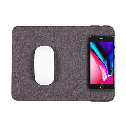 Digiflex Tappetino Mouse Carica Wireless - 2-in-1 - Tablet PC cellulari Smartphone abilitati Qi - Adatto a dispositivi Samsung Android iPhone - Grigio