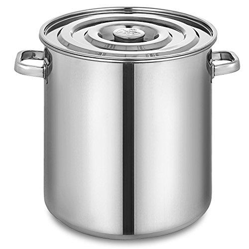 Olibelle Seau à Soupe Marmite en Acier Inoxydable 50 Quart Cafetière à thé avec Couvercle 12.5 Gallon Préparation pour la Cuisine (40cm)