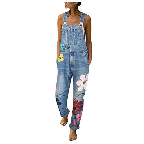 ZEZKT Peto Vaquero para Mujer Mono Vaquero con Estampado de Moda con Bolsillo Vaqueros Largos Casual pantalón Denim Largo Slim Salvajes Jeans de Mezclilla
