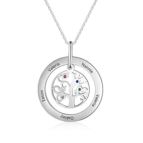 KAULULU Personalised Tree of Life Necklace with 5 Simulated Birthstones Family BFF Names Engraved Women Promise Necklace Jewellery Mother Grandma Birthday Gifts