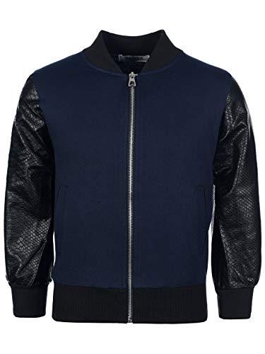 My Rock Jungen Sweat College Sweater Jacke Kunstleder Langarm Pullover Hoodie 30172 Navy Blau 12 yr