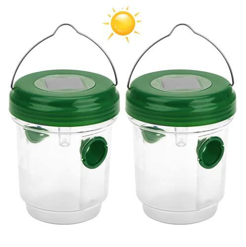 Herefun 2 Piezas Trampa para Avispas con Luz Solar LED, Trampa para Avispones Insectos Trampa para Moscas, Trampa de Plástico para Insectos Moscas Interior y Exterior Jardín/Granja