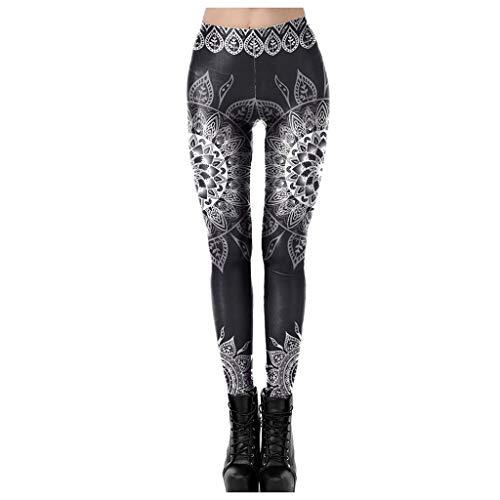 VEZAD Store Women High Waist Yoga Pants Boho Floral Print Seamless Running Workout Sports Leggings