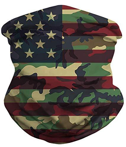 RAISEVERN Red Blue USA American Flag Camo Face Cover Seamless Rave Bandanas Neck Gaiter Multifunctional Balaclavas Headbands Scarf Tube Headwrap Neckwarmer for Dust,Outdoors,Sports Festivals