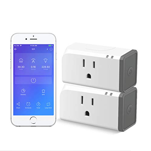 Smart Plug with Energy Monitoring ETL Certified 2 Pack, Sonoff S31 WiFi Smart Outlet Timer Switch, Works with Alexa & Google Home Assistant, IFTTT Supporting, No Hub Required