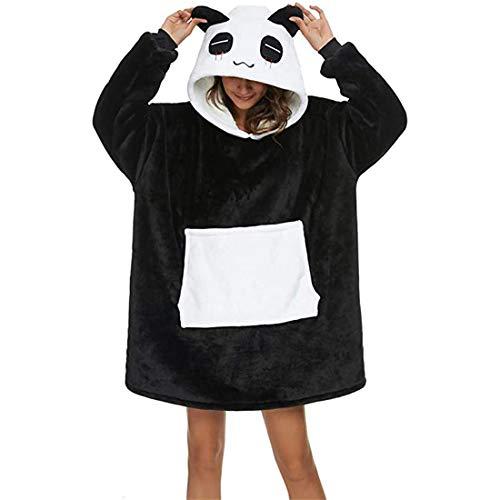 LICHUXIN Manta de Las señoras con Capucha Invierno Lazy Pullover Nightgown Linda Panda Suelta y cómoda Acolchado para Acolchado con Bolsillos