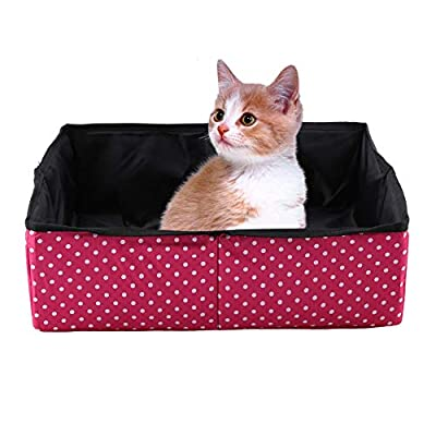 Foldable Cat Litter Box Portable Waterproof Pet Litter Boxes Cat Litter Tray Ketty Litter Pan for Home Outdoor Travel Camping Home Use (Red)