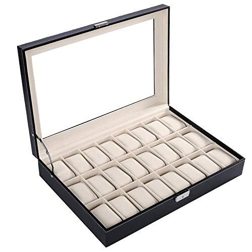 ZhenHe Caja de exhibición de reloj de piel sintética a prueba de polvo con 24 cuadrícula de reloj de la caja de almacenamiento de joyería organizador de regalos