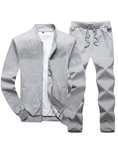 Lavnis Men's Casual Tracksuit Long Sleeve Running Jogging Athletic Sports Set Gray 2XL