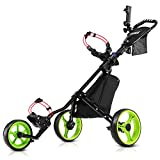 JANUS Golf Push Cart, Golf cart for Golf Clubs, Golf Pull cart for Golf Bag, Golf Push carts 3 Wheel...