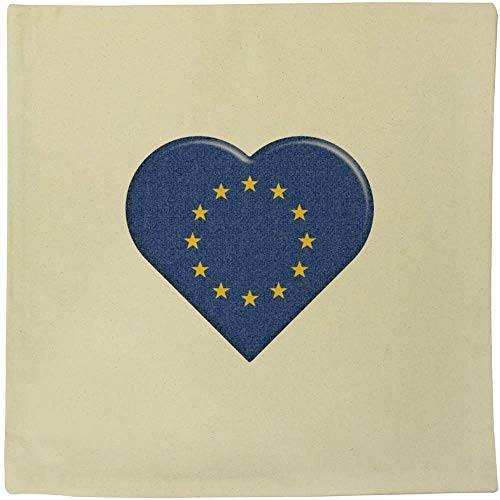 Azeeda 40cm x 40cm 'EU Flag Heart' Canvas Cushion Cover (CV00000526)