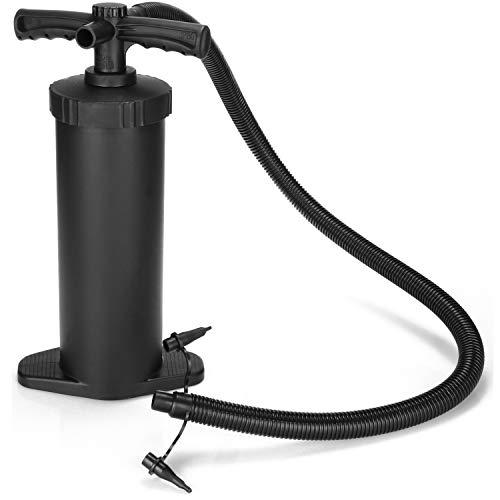COM-FOUR® 2,8 L Luftpumpe, Hochleistungs-Handpumpe, Lufthandpumpe mit Doppelhub, perfekt für Schlauchboote, Luftmatratzen und Aufblasartikel (2.8 L)