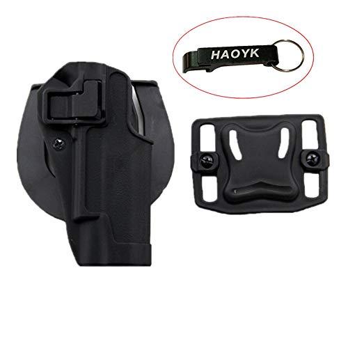 haoYK Tactical Airsoft Pistola ocultación Draw Right Handded Paddle Cintura cinturón Holster Bolsa para Colt 1911 (Negro)