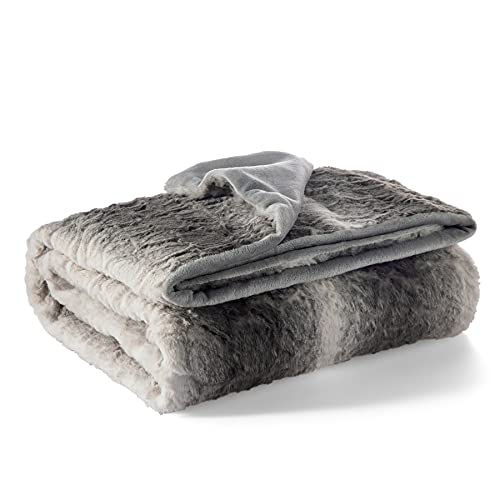 Bedsure Rabbit Faux Fur Throw Blanket for Couch - Coffee Fuzzy Fluffy Warm Soft Blanket for Sofa, 50x60 Inches