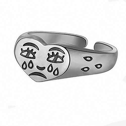 Anillos con cara de llanto para mujeres, anillo de dedo abierto vintage, anillos ajustables con forma de lágrima, regalos para mujeres y niñas Women