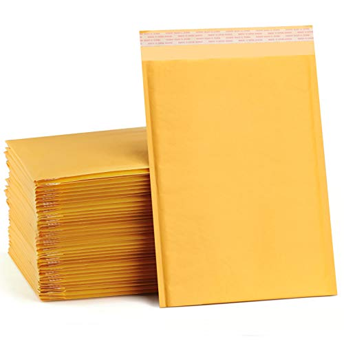 UCGOU 8.5x12 Inch Kraft Bubble Mailers Padded Envelopes Yellow Bubble Envelopes Shipping Envelopes Bags Pack of 25
