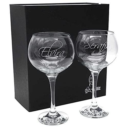 la galaica   Set de 2 Copas de Cristal para Gin&Tonic   Colección COMBY-Grabado   Grabación Personalizada con Nombres, Fecha, etc.