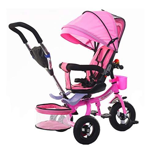 WENJIE Presente Triciclo 1-6 Años De Edad De Coches De Juguete Reclinable con Toldo Plegable del Cumpleaños del Niño De La Bicicleta Cochecito De Bebé Multifunción Niños (Color : Pink)