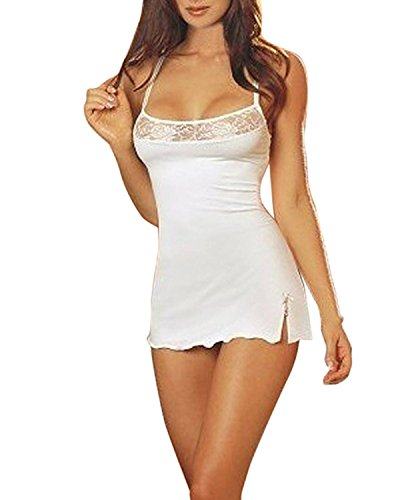 ZANZEA Damen Sexy Dessous Spitze Chemises Nachtwäsche Full Slips Nachthemd Teddy Mini Babydoll G-String - Wei� - XXX-Large