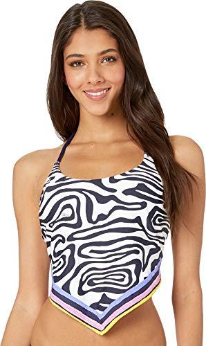 Trina Turk Women's Halter Handkerchief Tankini Swimsuit Top, Black//Zebra, 10
