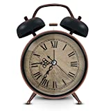 ERYTLLY Twin Bell Alarm Clock with Stereoscopic Dial, Backlight, Battery Operated Loud Alarm Clock (Navigation Alarm Clock(Black))