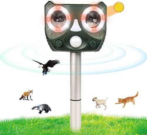 Repelente Gatos, Ahuyentador para gatos, Solar Ultrasónico Ahuyentador Pare Animales, Gatos, Ratas, Perros, Aves, Zorros y Otros, impermeable IP56