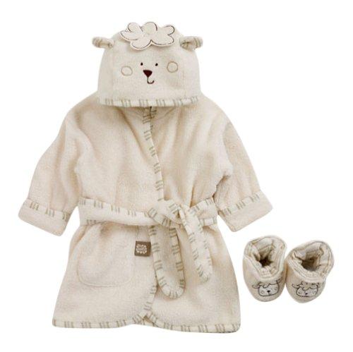 Bio Kinderbademantel Schaf und Hausschuhe - 0 bis 6 Monate