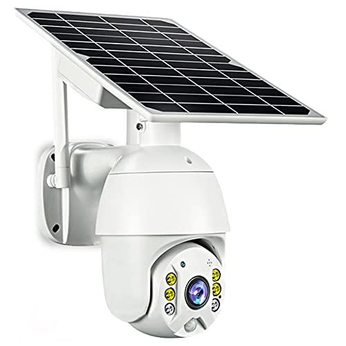 ZJ WiFi Cámara para Exteriores Cámara IP Cámara PTZ CCTV para Exteriores 1080P 8W Panel Solar Batería Recargable Cámara De Seguridad Inalámbrica De Metal Alarma PIR(Color:WiFi 16G RAM)