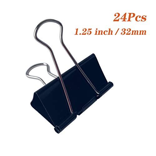 YiYa 24 piezas Abrazaderas de la carpeta, clip de papel, clip de metal plegable, con caja, para artículos de oficina, escuela y hogar, negro(32 mm)