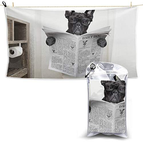 WIEDLKL French Bulldog Dog Sitting On Toilet Towel Travel Travel Size Beach Towel Sports Dry Towel Quick Towel Dry 27.5'' X 51''(70 X 130cm) Best for Gym Travel Camp Yoga Fitnes