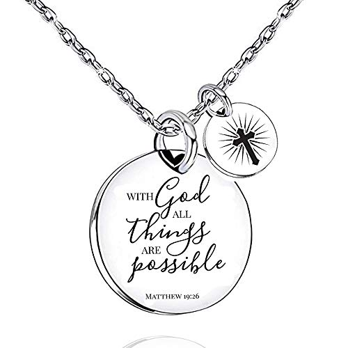 UOIPENGYI with God All Things are Possible Necklace Cross Teens Inspirational Gift Kids Jewelry Religious Spiritual Necklaces (with god)