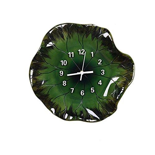 MJB Nuevo Chino Creativo Lotus Leaf Fresh Home Decoration Resina Suave Reloj de Pared Instalado