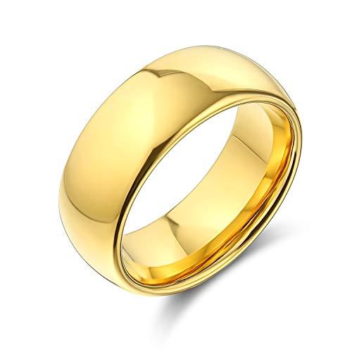 Bling Jewelry Simple Simple cúpula Parejas Titanium Alianza Banda de Boda Pulido 14K Oro Chapado Anillo para los Hombres para Las Mujeres Comodidad Ajuste 8MM