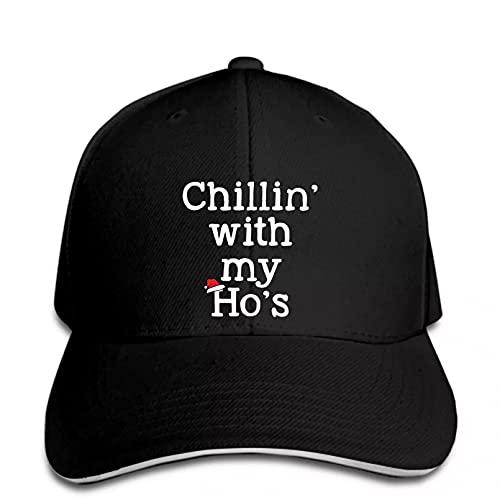 N/A Gorra de béisbol para Hombre Chillin with My HoFunny Christmas Outfit Snapback Hat Pico Ajustable Casual Divertido Gorra de camión Deportivo al Aire Libre