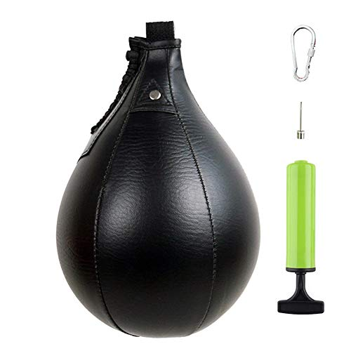 MXiiXM Speed Bag, Leather Hanging Punching Ball with Pump and Metal Hook for Boxing MMA Muay Thai Fitness Fighting Sport Training Suit for Kids Men Women (Black)
