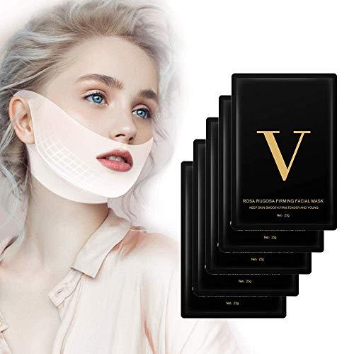 Máscara facial V Line, reductor de mentón doble MS.DEAR, máscara de capa de elevación intensa, parche de estiramiento facial V Lifting, máscara adelgazante en forma de V- 5 paquetes