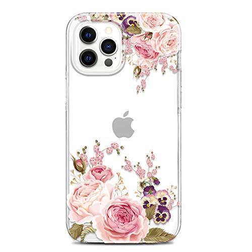 JAHOLAN iPhone 12 Hülle iPhone 12 Pro Handyhülle TPU Silikon Weiche Schlank Schutzhülle Handytasche Flexibel Clear Hülle Handy Hülle für iPhone 12/12 Pro 2020 6.1 Zoll - Flower Rose