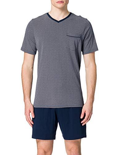 Schiesser Herren Anzug Kurz Zweiteiliger Schlafanzug, dunkelblau, 52