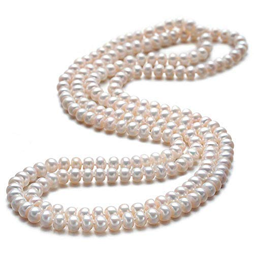 Pearl Necklace Drop Beaded 150cm Long Chain Rope Bead Wedding Bridesmaid Bridal Art Deco Fashion Faux Pearls Flapper Beads Cluster Long Pearl Necklace