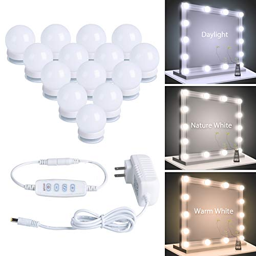 Hollywood LED Vanity Lights Strip Kit with 14 Dimmable Light Bulbs for Full Body Length Makeup Mirror & Bathroom Wall Mirror, Plug in Vanity Mirror Lights with Power Supply, 3 Color Modes