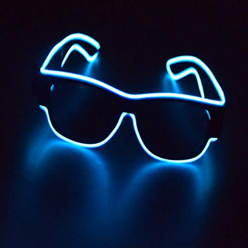 Party Rosa EDM KingCorey Accendi Flash Otturatore Neon Rave Occhiali El Wire LED Occhiali da Sole Voice Glow attivato Costumi DJ per Anni 80