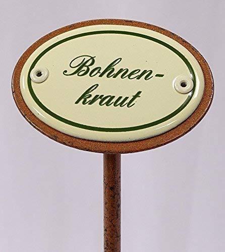 linoows Kräuterschild Kräuterstecker Emaille, Bohnenkraut, Erdspieß 25 cm