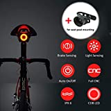 USB Recargable Bicicleta Luz de la cola,LED Bicicleta Posterior Ligero Encendido / apagado automático,Freno Inducción,IPX6 Impermeable,Rojo Alta intensidad LED Bicicleta Luz Tija de sillin de Montaje