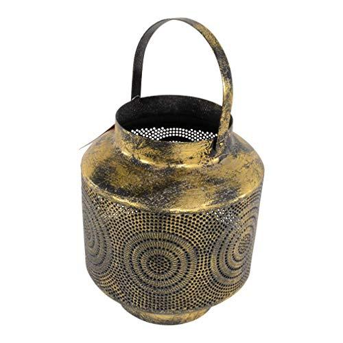 Moritz Windlicht orientalisch Durchmesser 20 x 25 cm alt Gold Arabisch verziert Muster Lampe für Garten Terasse Balkon Deko Gartenfackel Fackel Kerzen