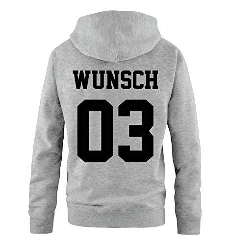 Comedy Shirts - Wunsch - Herren Hoodie - Grau/Schwarz - Gr. S