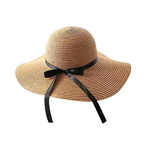 N\C Urlaub Hut Meer Große Krempe Strohhut Sommer Strand Hut Faltbarer Sonnenhut Sonnenhut Verstellbar/Khaki