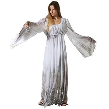 EraSpooky Women Gossamer Ghost Costume Gothic Victorian White Fancy Dress