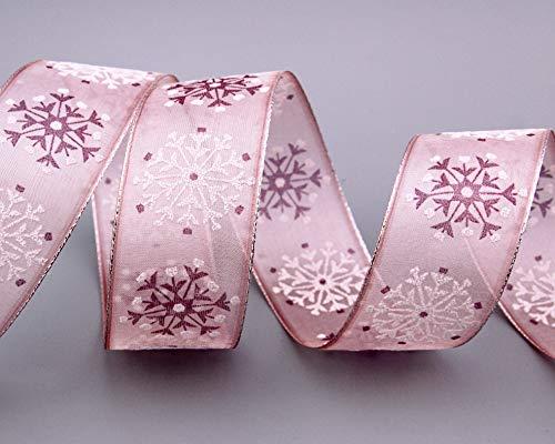 finemark 3 m x 40 mm Dekoband Snow Wonder ROSA Silber Geschenkband Schneeflocken Chiffonband mit Draht Lurex Schleifenband glänzend Winter Weihnachten