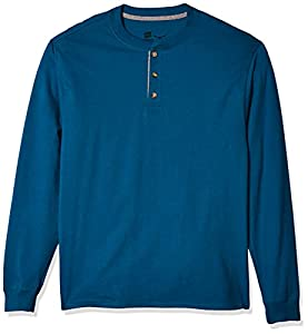 Henley sports a contrast color three-button placket Famously durable beefy fabric Tag less long sleeve for the ultimate in comfort Available in both solid and color blocked color ways Heathers are 60% cotton, 40% polyester; Pebblestone Heather is 75%...